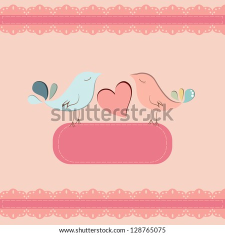 Beautiful card template with couple of birds