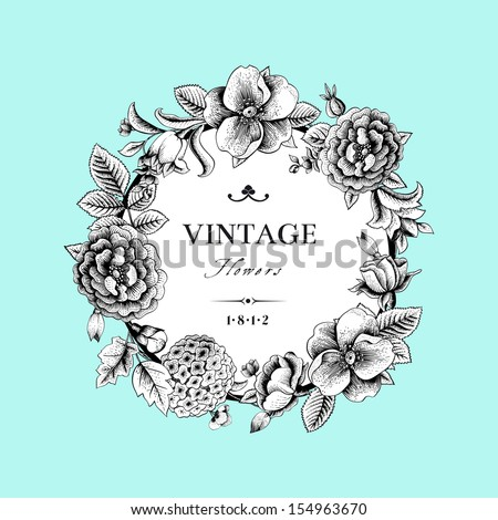 Beautiful card with a round wreath of different flowers of vintage garden. Black and white frame of the Roses, hydrangea and dog-rose on mint background. Vector illustration
