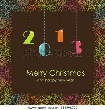Beautiful card with Christmas and New Year