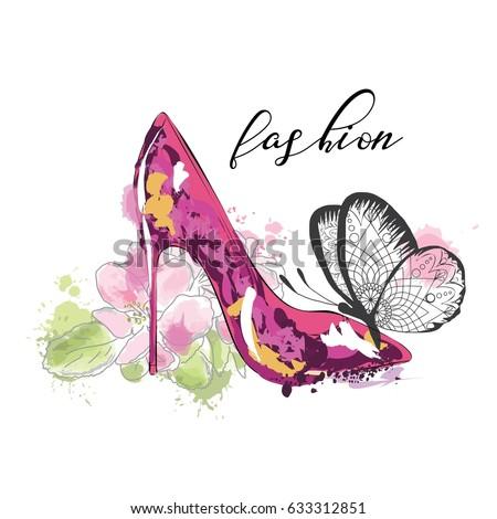 beautiful card with high heel