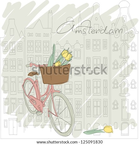 Beautiful card with pretty bicycle and yellow tulip on Amsterdam background