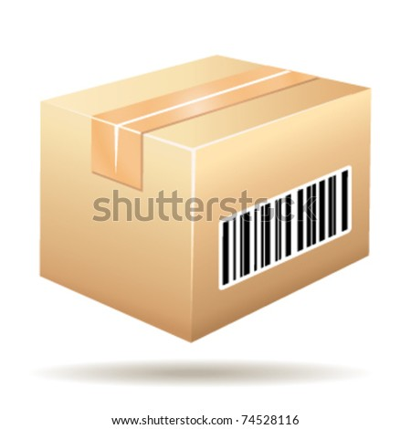 Beautiful cardboard icon with tracking number barcode. Vector illustration.