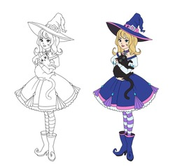 Beautiful cartoon witch holding black cat. Blonde hair, blue dress and big hat. Hand drawn vector illustration for coloring book. Isolated on white