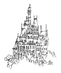 Beautiful castle in drawing sketch. Modern hand drawn design vector illustration.