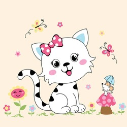 Beautiful cat girl and mouse feel happy together in a flower garden isolated from a vector illustration of a white background.