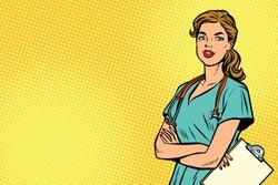 Beautiful Caucasian nurse with stethoscope. Medicine and health care. Pop art retro vector illustration