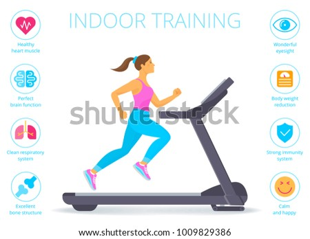 Beautiful caucasian woman is running on the treadmill. Flat vector illustration of athletic young girl in the sportswear doing exercises on the treadmill. Indoor fitness concept isolated on white.