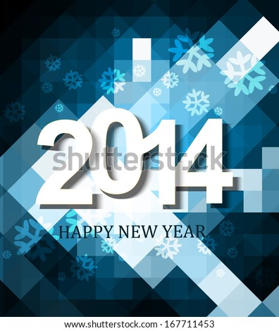 Beautiful celebration holiday Happy new Year 2014 background wave blue colorful vector
