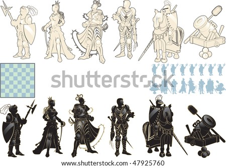 beautiful chess pieces made in the form of silhouettes of armed people