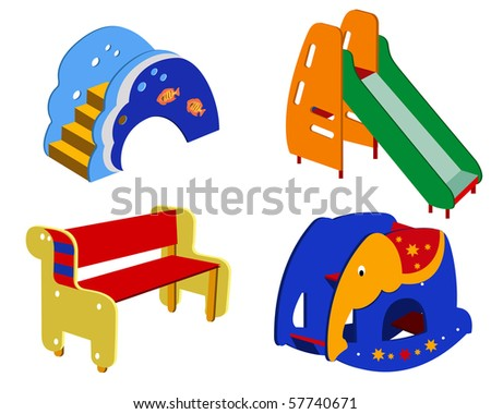 Beautiful children's furniture on a white background