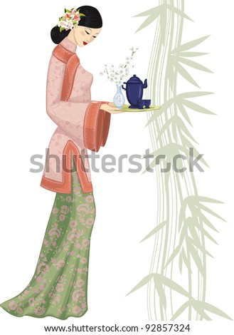 beautiful chinese woman holding