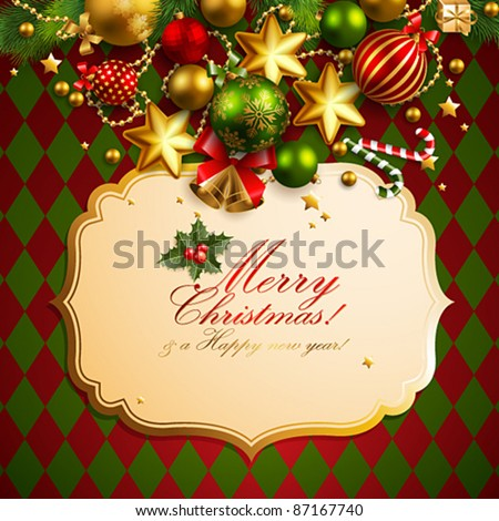 Beautiful christmas background with place for text. Vector illustration.
