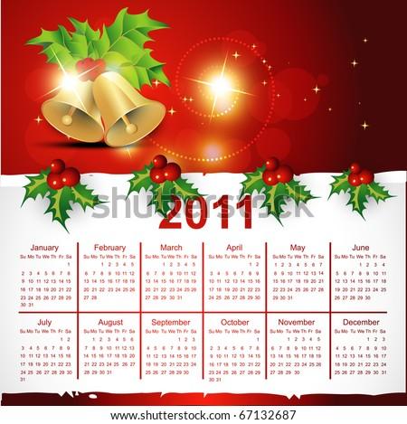 beautiful christmas calendar vector design - stock vector