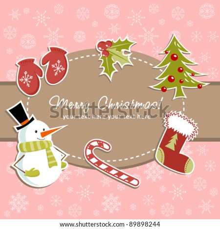 Beautiful Christmas card with xmas stocking, toys holly berries, candy canes, mittens, fir tree and smiling snowman