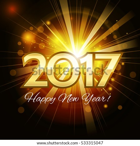 Beautiful Christmas golden background with a bright flash of light and the words Happy New Year 2017!  #533315047