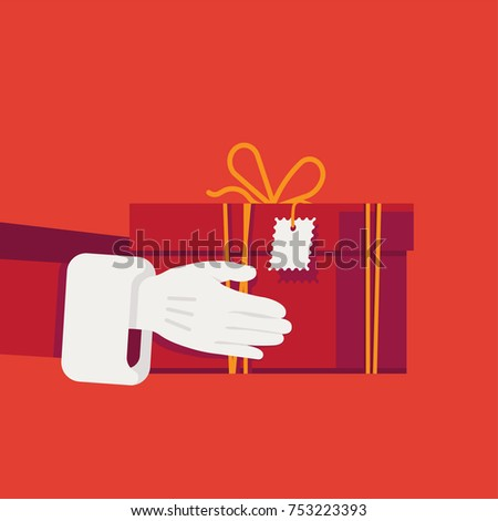 Beautiful Christmas holidays themed vector illustration with Santa Claus' hands in white gloves holding red gift box. Xmas gifts and presents. Secret Santa gift exchange concept illustration