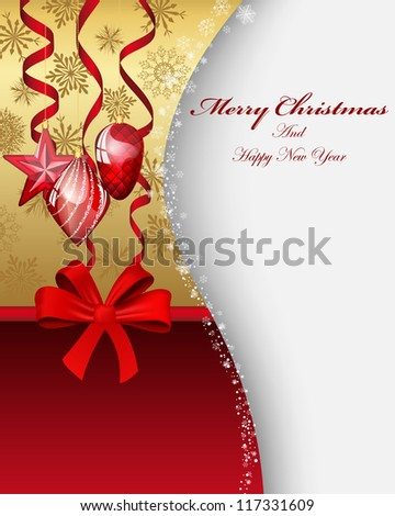 Beautiful Christmas (New Year) card. Vector illustration with transparency and mesh EPS10.