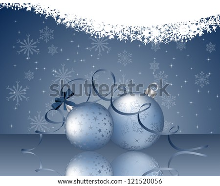 Beautiful Christmas (New Year) card. Vector illustration with transparency and mesh. Eps 10.