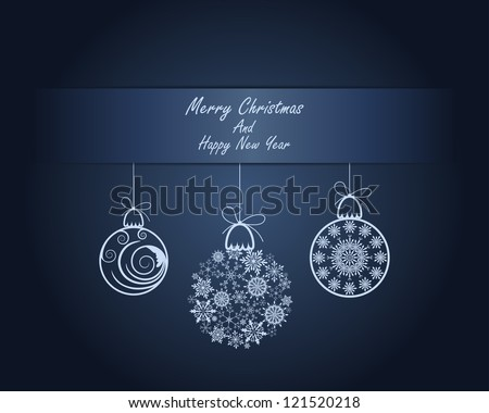 Beautiful Christmas (New Year) card. Vector illustration with transparency. Eps 10.
