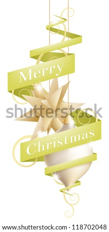 Beautiful Christmas tree decoration illustration with ribbon or scroll banner reading Merry Christmas
