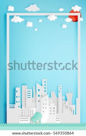 Beautiful cityscape paper art style vector illustration