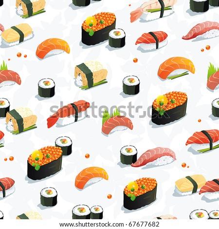Beautiful Classic Japanese Seamless Pattern, food vector illustration sushi texture