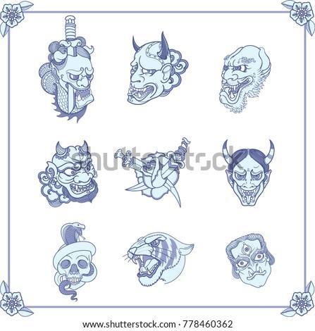 Beautiful clean retro tattoos in classic oriental Japanese old school style. Daemon evil  face. Devil muzzle. Dagger inside rose. Yakuza style ストックフォト ©