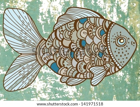 Beautiful color Fish illustration, vector