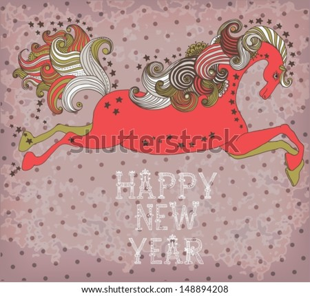 Beautiful color jumping horse, symbol 2014 new year with text for holiday design, VECTOR