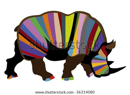beautiful color rhinoceros in abstraction on a white background