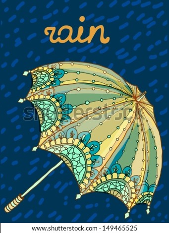 Beautiful color umbrella with drops, Vector