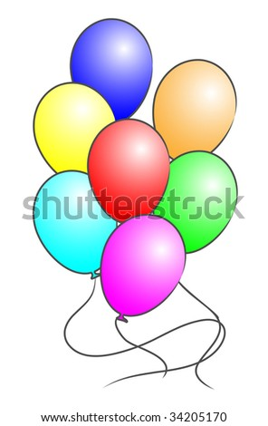 Beautiful colored balloons. Vector illustration.