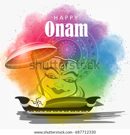 Beautiful Colorful Grungy background with Kathakali face, Umbrella, Snake Boat etc. for the Festival Onam.