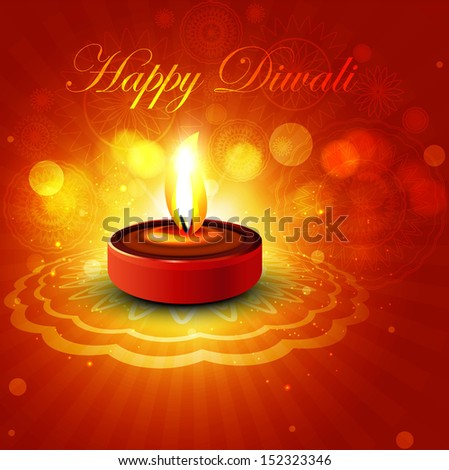 Beautiful colorful happy diwali diya bright colorful hindu festival vector design