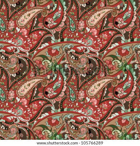 beautiful colorful paisley seamless background