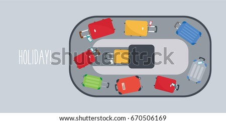 beautiful colorful passengers luggage vector or Baggage at airport. travel bags cartoon. flight & arrival flat design background. space & text isolated. suitcase on conveyor belt holiday & vacation