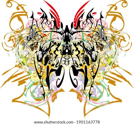 Beautiful colorful splattered butterfly wings. Abstract butterfly wings with an unusual pattern and colored decorative and floral elements for wallpaper, posters, prints, textiles, etc.