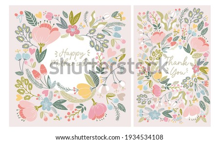 """Beautiful combo  of greeting cards """"Happy mother's day"""" and """"Than you"""". Bright illustrations, can be used as creating card, invitation card for wedding, birthday and other holidays."""