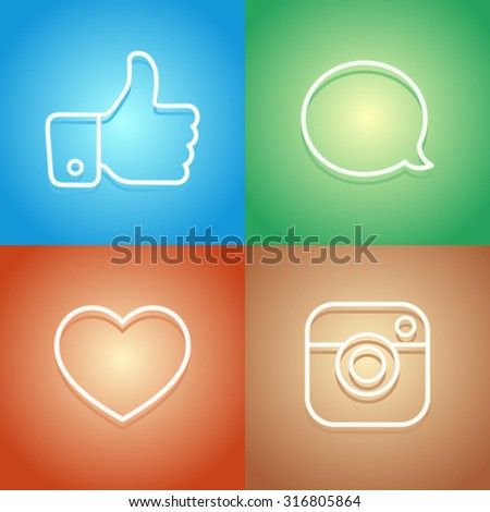 Beautiful Contour Social Icons Buttons and Stickers Vector Set