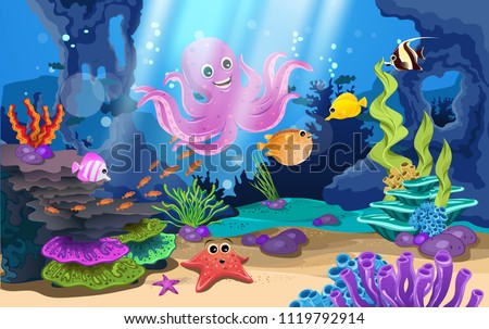 beautiful coral reefs and fish in the sea #1119792914