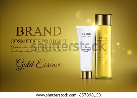 Beautiful cosmetic template for advertising, a glass translucent bottle hair oil. Cosmetic tube design on a gold background. Gold essence vector illustration, eps10