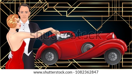 Beautiful couple in art deco style dancing tango. Retro fashion: glamour man and woman of twenties and red car. Vector illustration. Roaring Twenties. Classic automobile, luxury vintage concept.