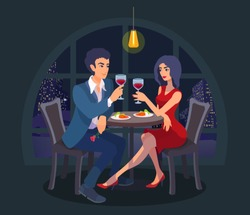 Beautiful couple on a date sit together at table with food, raise their glasses, look at each other. Two people have an evening meal. Night city on background. Vector cartoon flat style illustration.