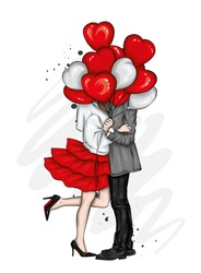 Beautiful couple with balloons in the shape of hearts. A girl in a dress and high-heeled shoes and a man in a coat and trousers. Valentine's Day, love and relationships. Vector illustration.