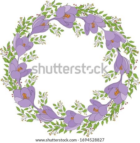 beautiful crocus wreath with