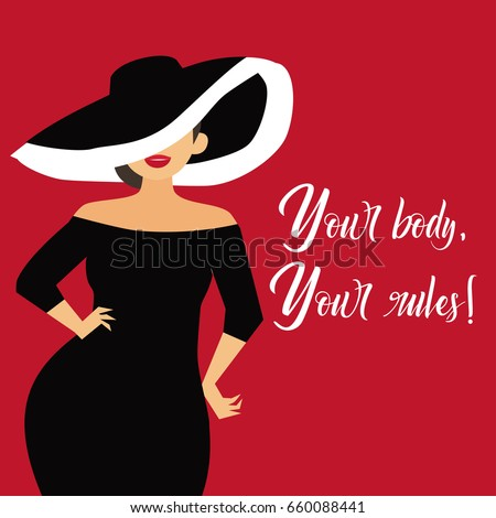 Beautiful curvy, overweight girl in evening dress. Cartoon vector illustration. Happy plus size, chubby girl.