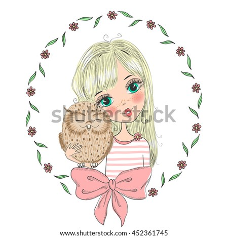 Beautiful, cute blonde girl with owl. Vector illustration.