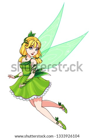 Stock Photo Beautiful cute fairy with blonde pigtails wearing green dress. Hand drawn vector illustration. Isolated on white background.