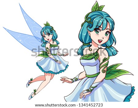 beautiful cute fairy with blue
