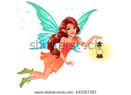 Beautiful cute fairy with long braided hairstyle holding a lantern